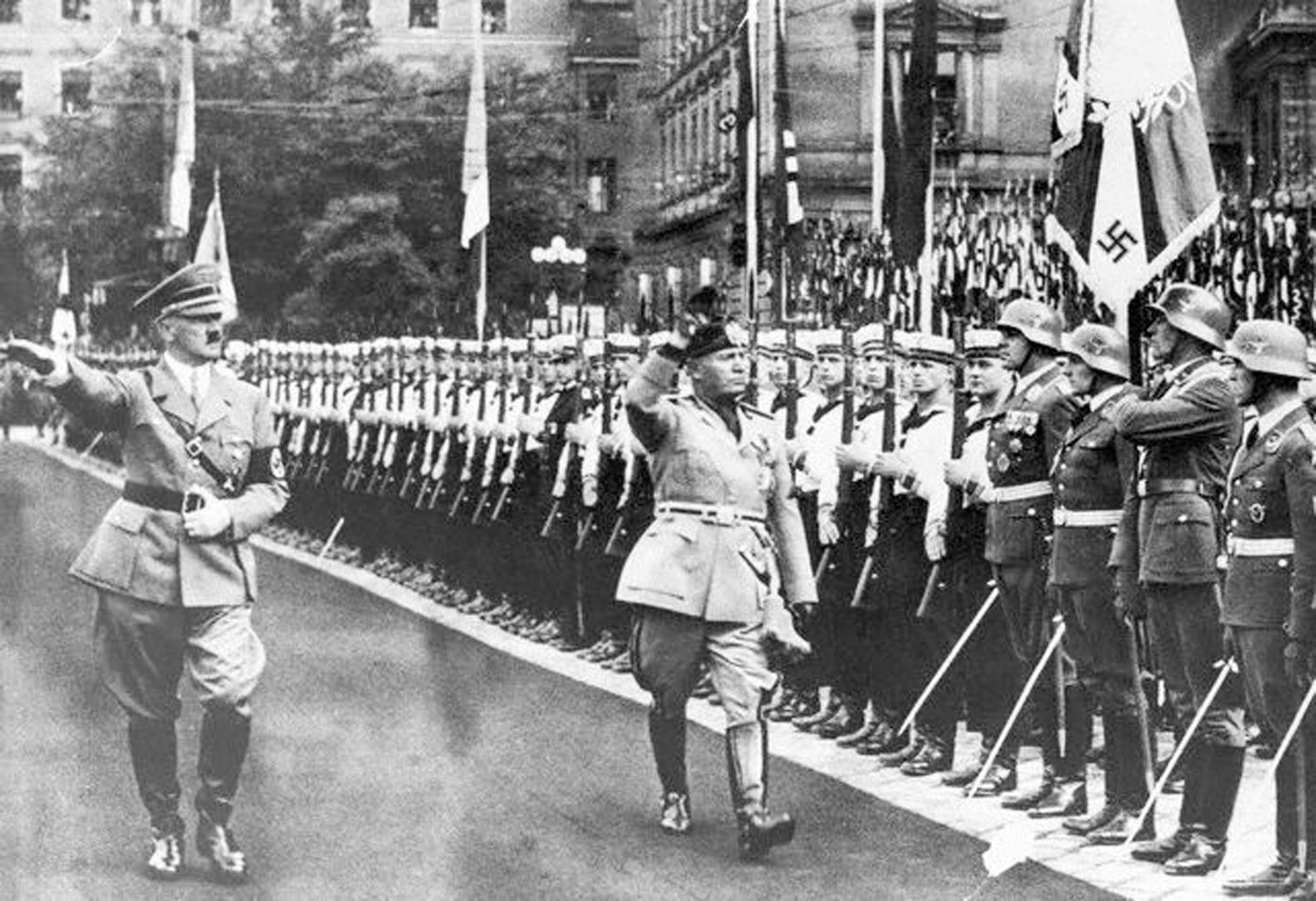 Hitler And Mussolini Saluting Their Armies