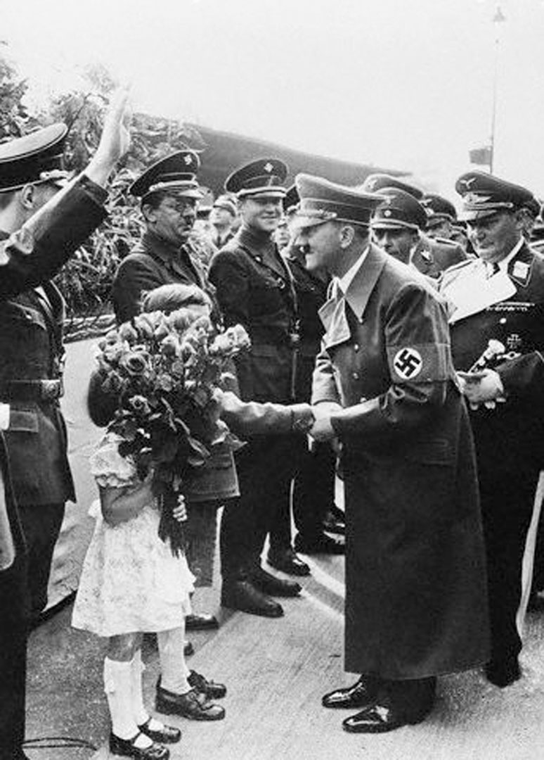 Hitler Handed A Rose By A Little Girl At Anhalter Railway Station Berlin