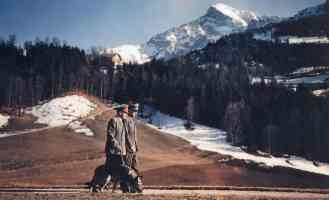 hitler walking dog across the bavarian landscape
