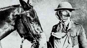 gas masked soldier and horse