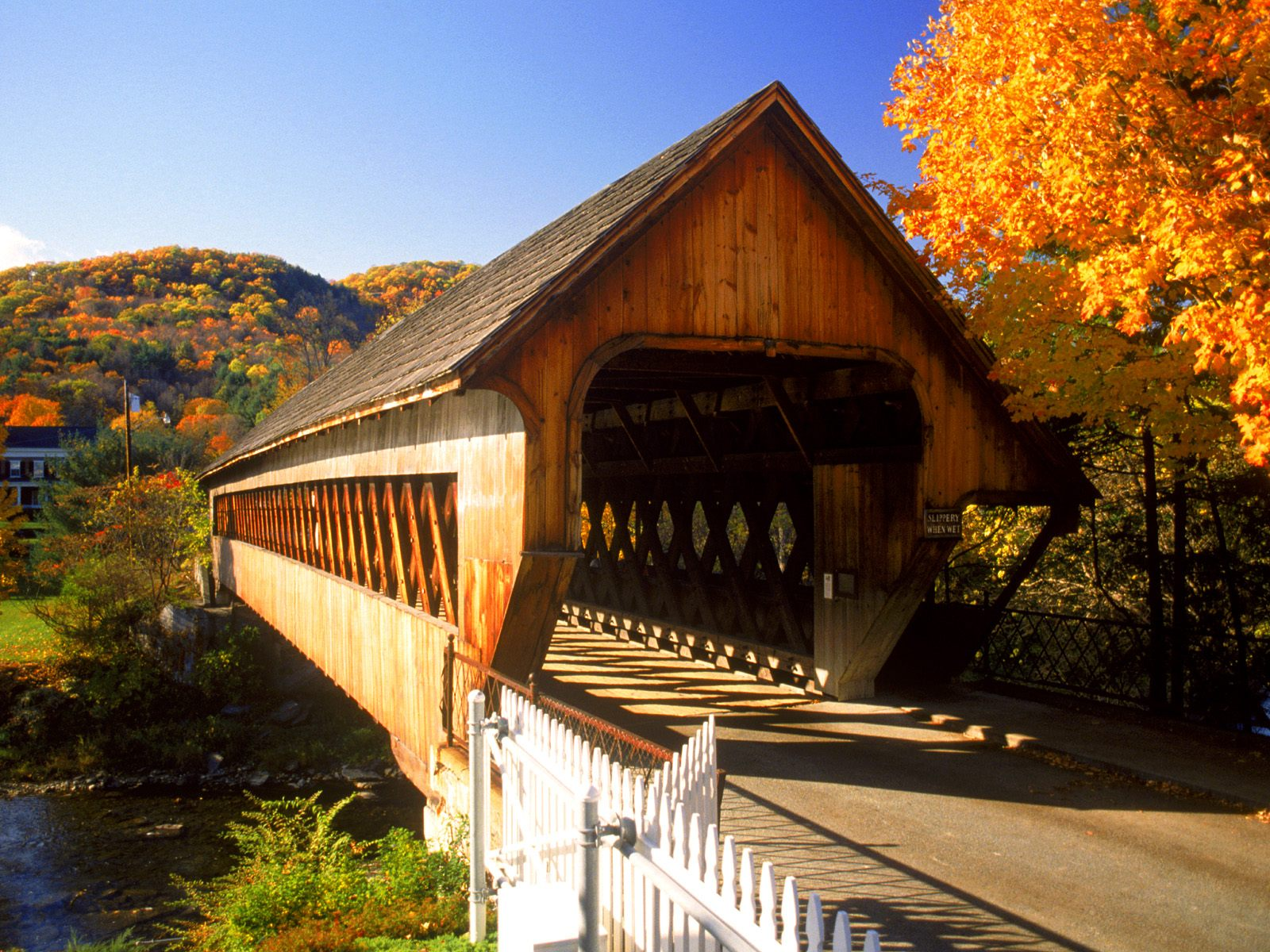 Autumn Covered Bridge Woodstock Vermont