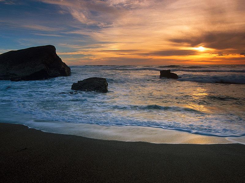 Greyhound Rock Beach Santa Cruz County California