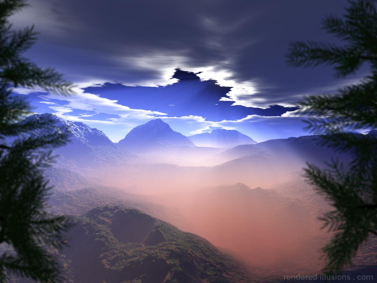 Mountain Peak Breaking The Cloud