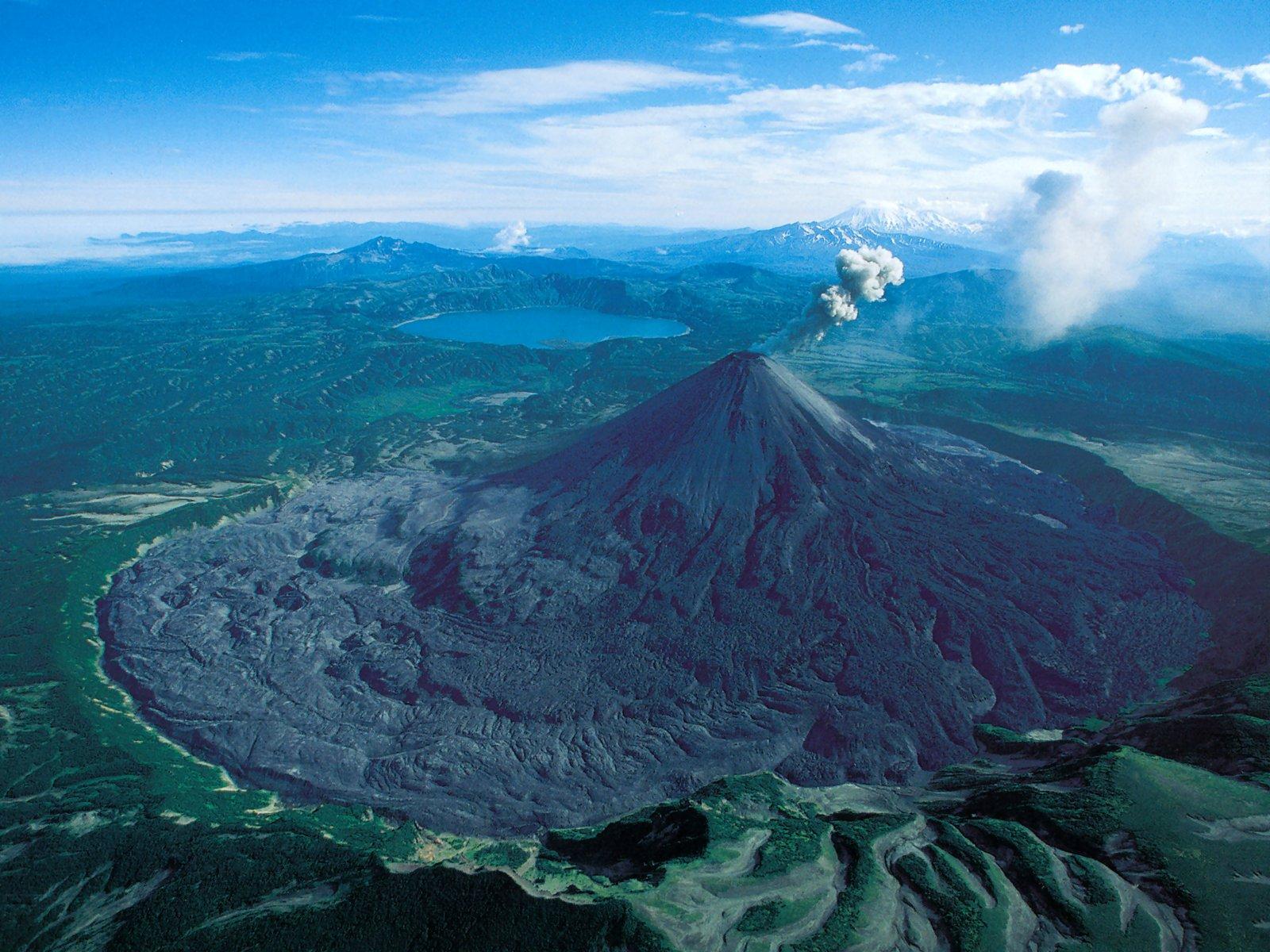 Russia Kamchatka Karymskaya Volcano Erupting