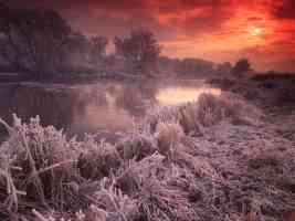 River Avon Great Britain in deep frost