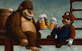 mario and donkey kong share a beer