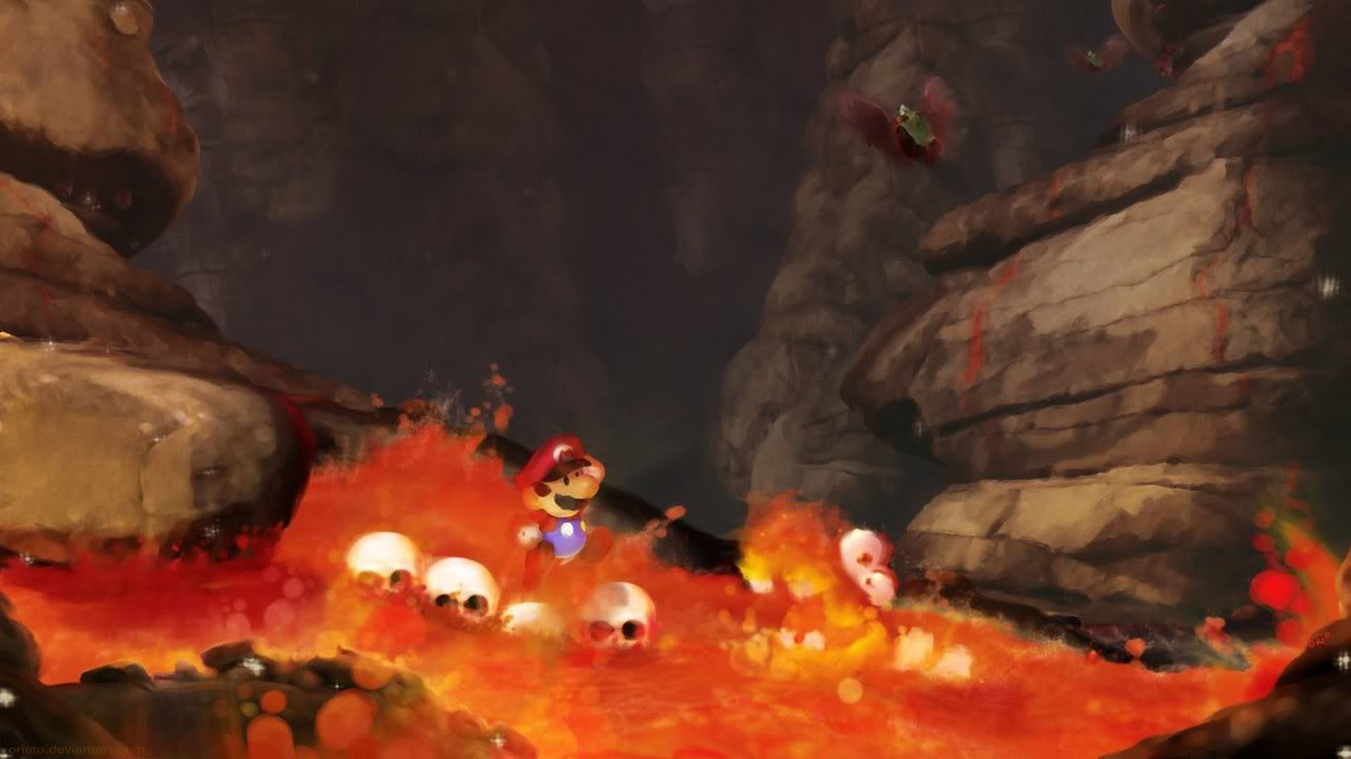Baby Mario In The Flames