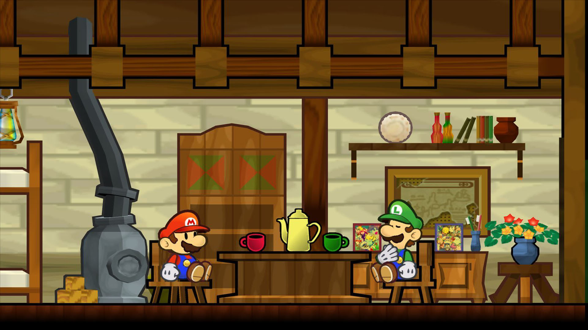 Super Paper Mario Having A Cup Of Tea With Luigi