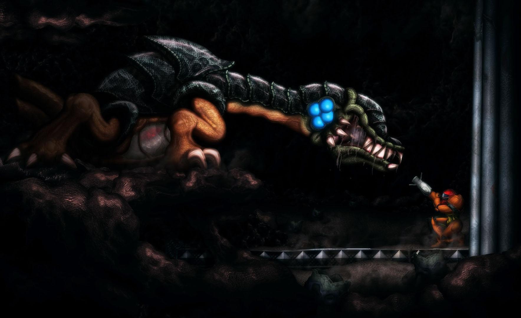 Samus Fighting A Dragon