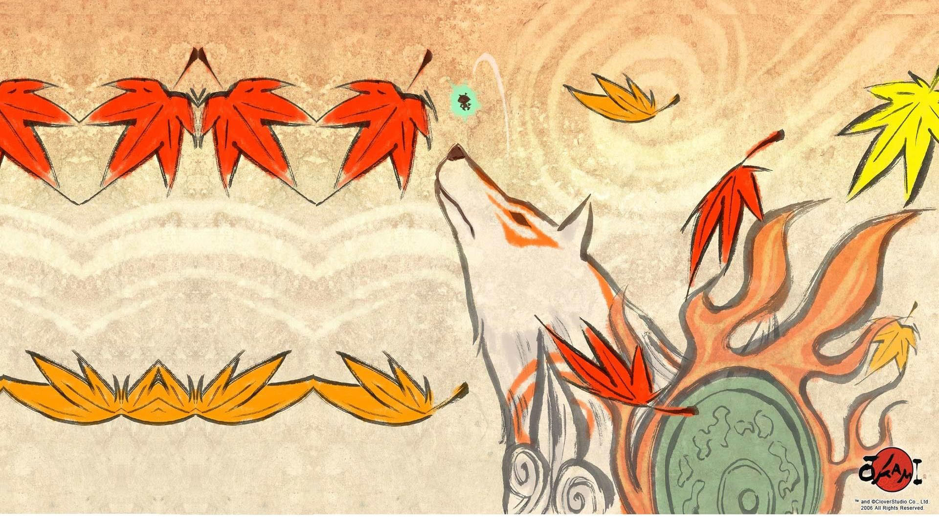 Previous Okami Wallpaper Wolf Amongst The Falling Autumn Leaves