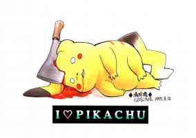 pikachu with an axe in the head