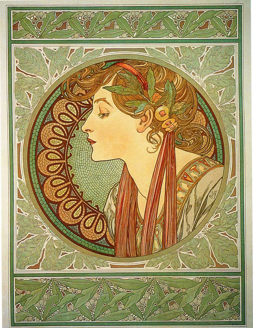 Laurel alphonse mucha wallpaper image for Art nouveau wallpaper uk