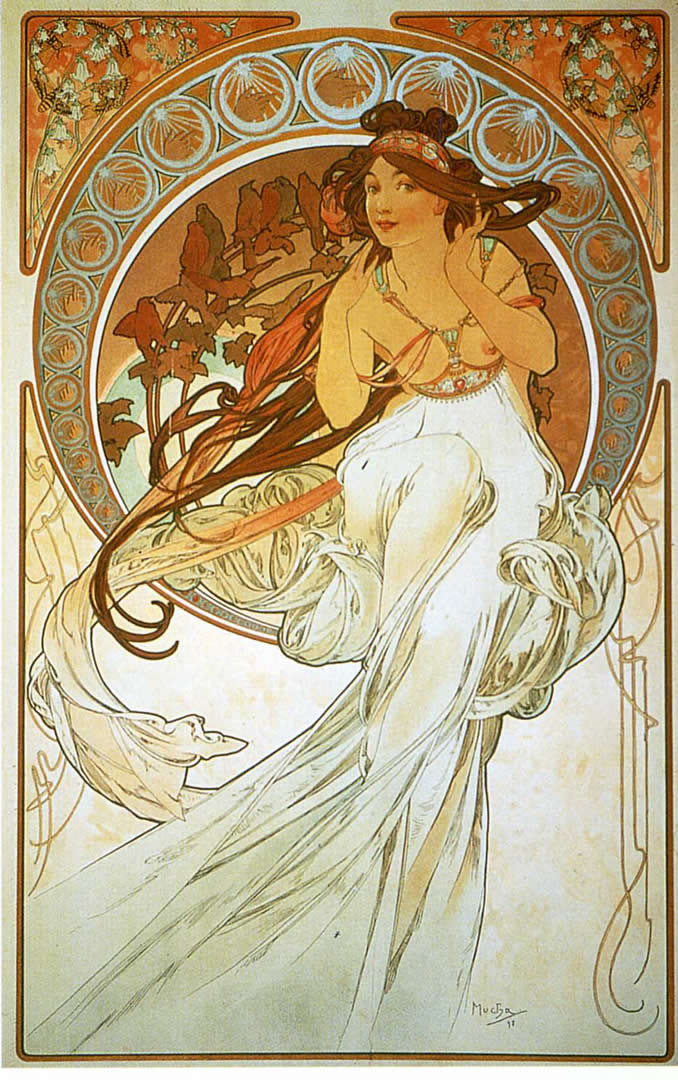 The arts music alphonse mucha wallpaper image for Art nouveau wallpaper uk