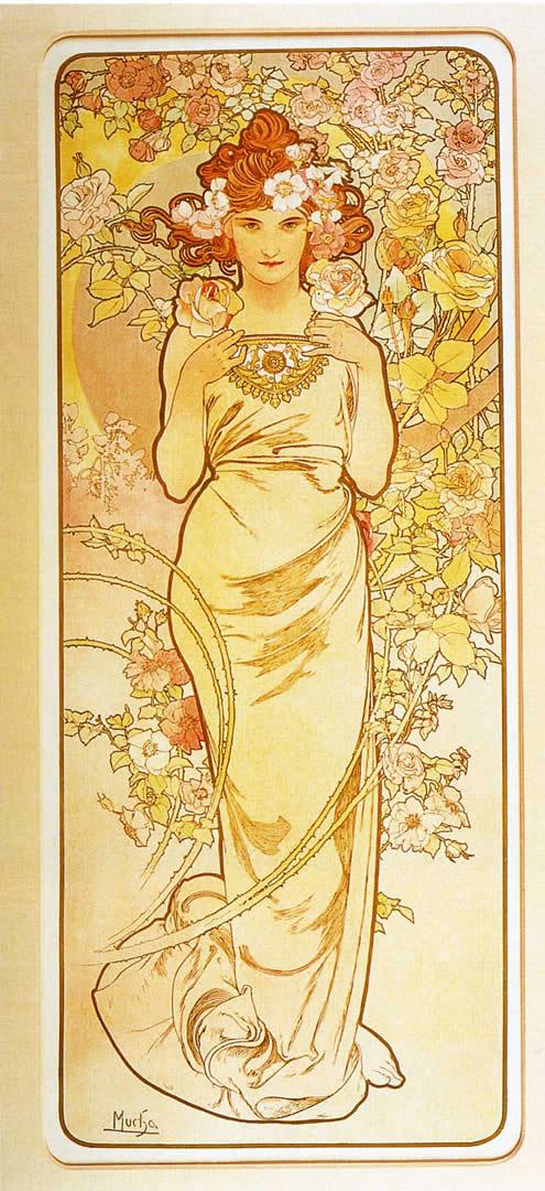 The Flowers Rose - Alphonse Mucha Wallpaper Image