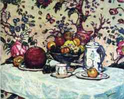 still life against flowered wallpaper