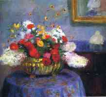 still life round bowl with flowers