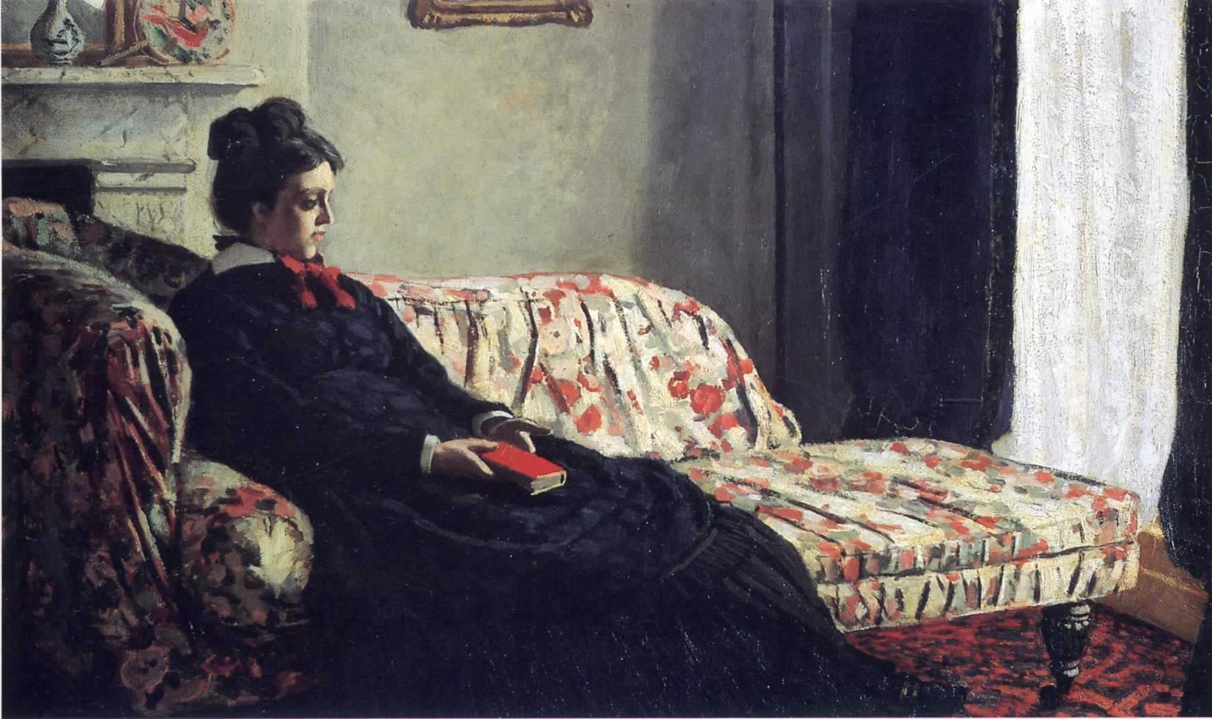Meditation Madame Monet Sitting On A Sofa