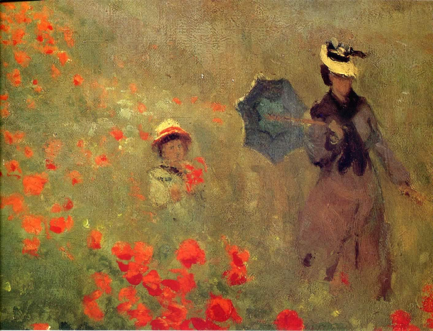 Poppies at argenteuil close up claude monet wallpaper image for Monet paintings images