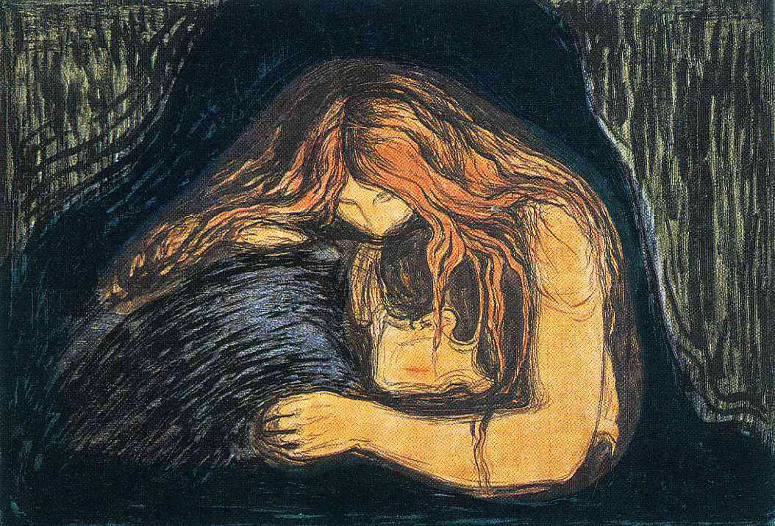the vampire woodcut edvard munch wallpaper image