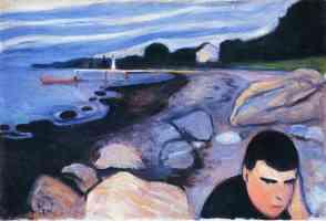 man at rocky shore