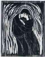 the kiss woodcut