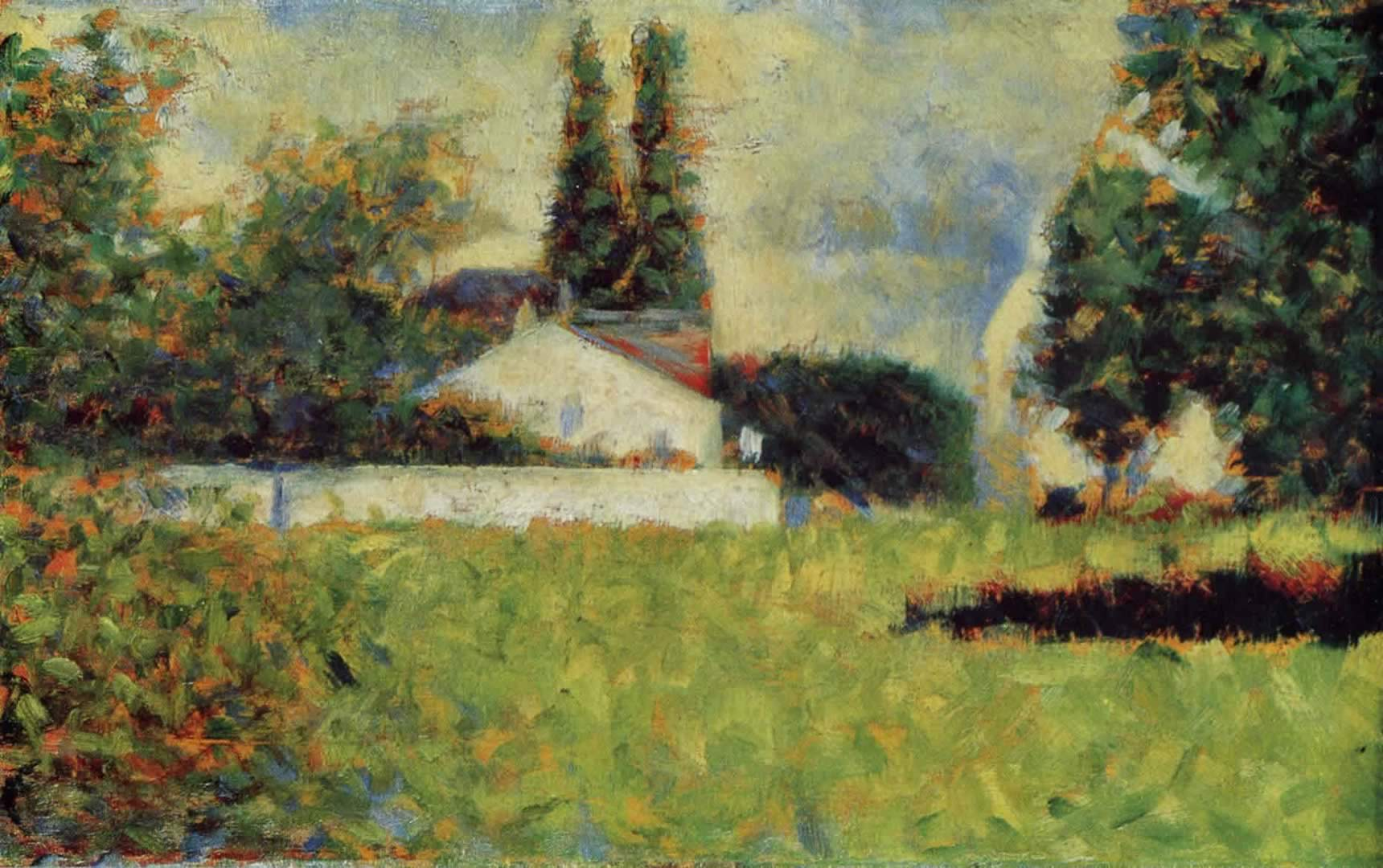 house among trees georges seurat wallpaper image