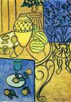 interior in yellow and blue