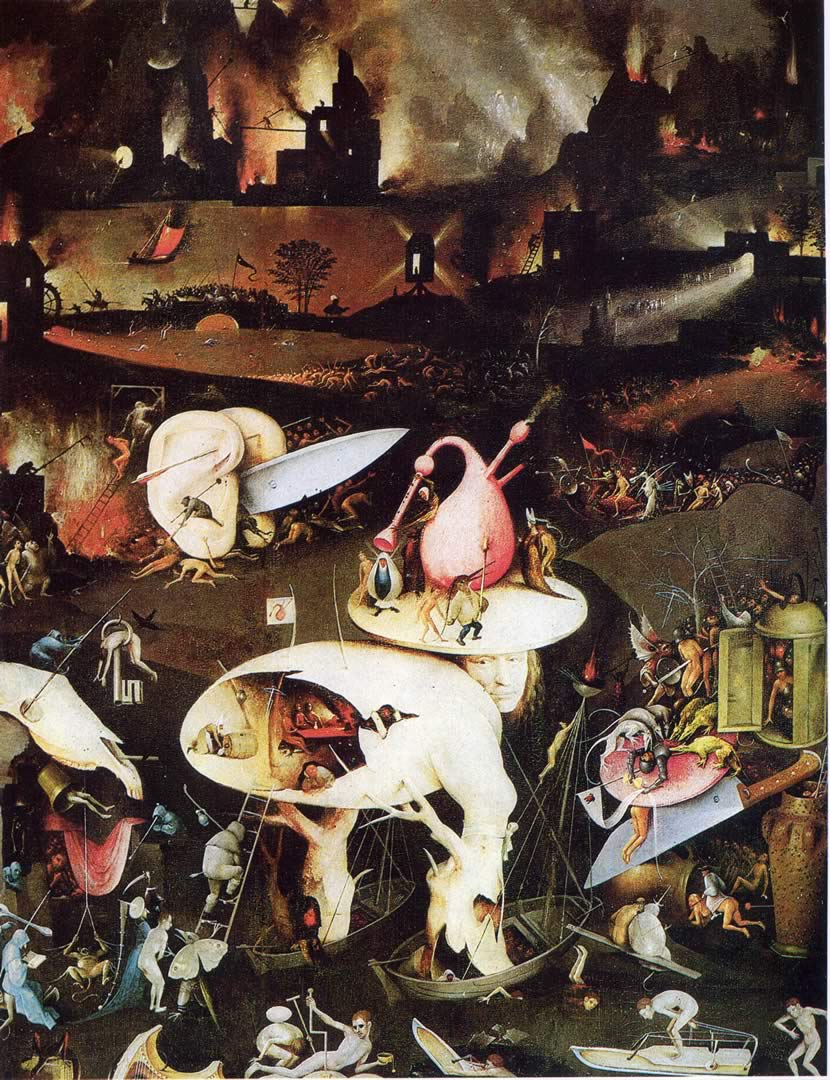 hieronymus bosch Warning of the perils of life's temptations, the central panel of hieronymus bosch's famous 16th century painting features many naked figures engaged in sensual activities, along with oversized animals and outrageously-sized fruit the figures in this 'playground of corruption' may have served to represent.