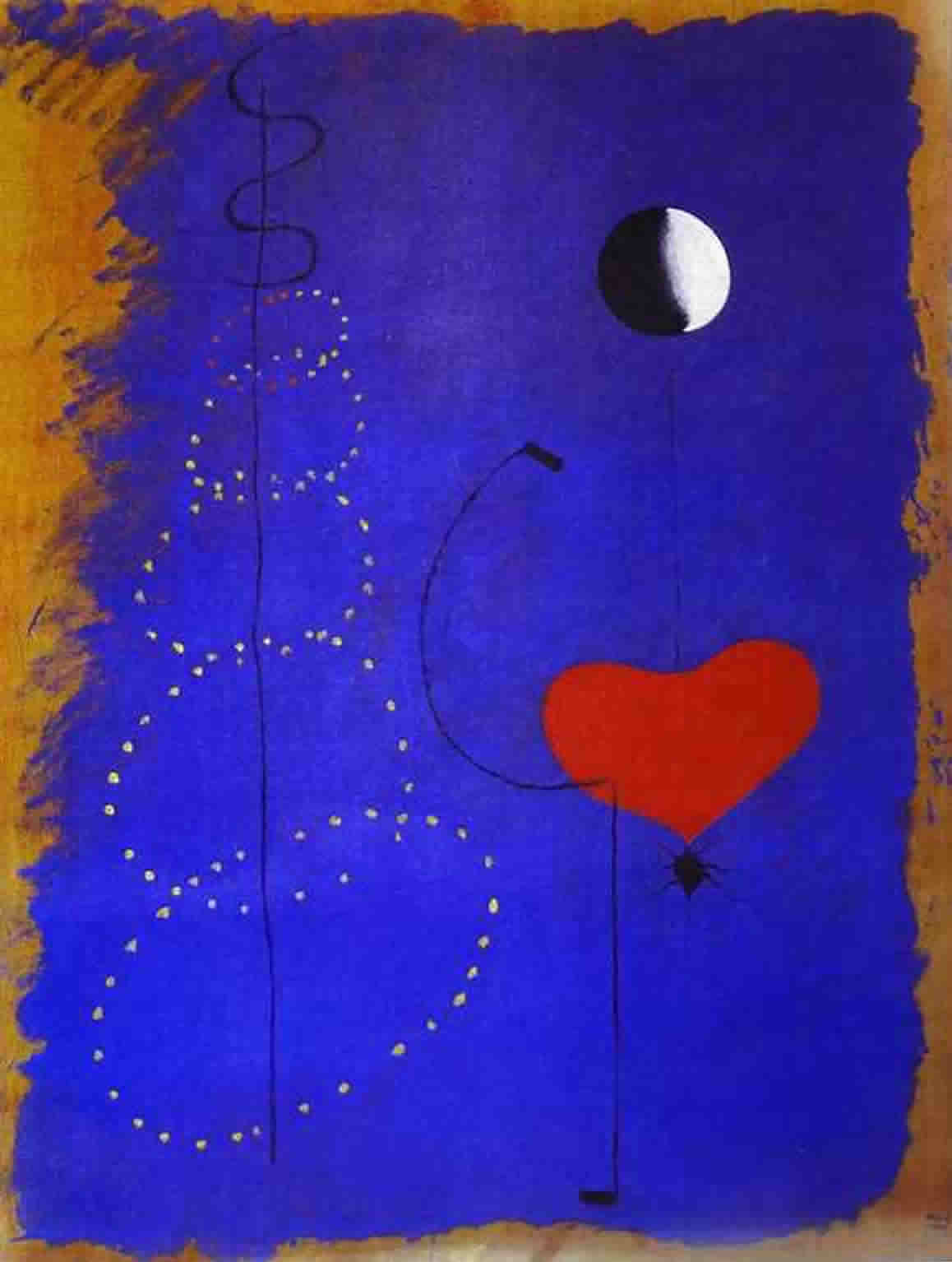 Miro's Dancer - blue background, red heart with supporting lines and dots - and the moon