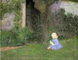 child in a walled garden giverny