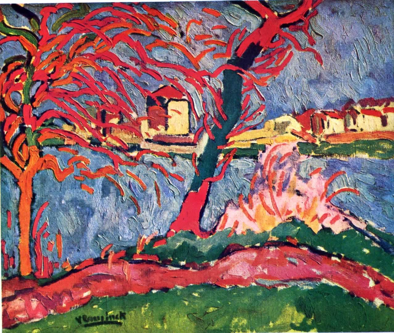 river edge of the seine maurice de vlaminck wallpaper image