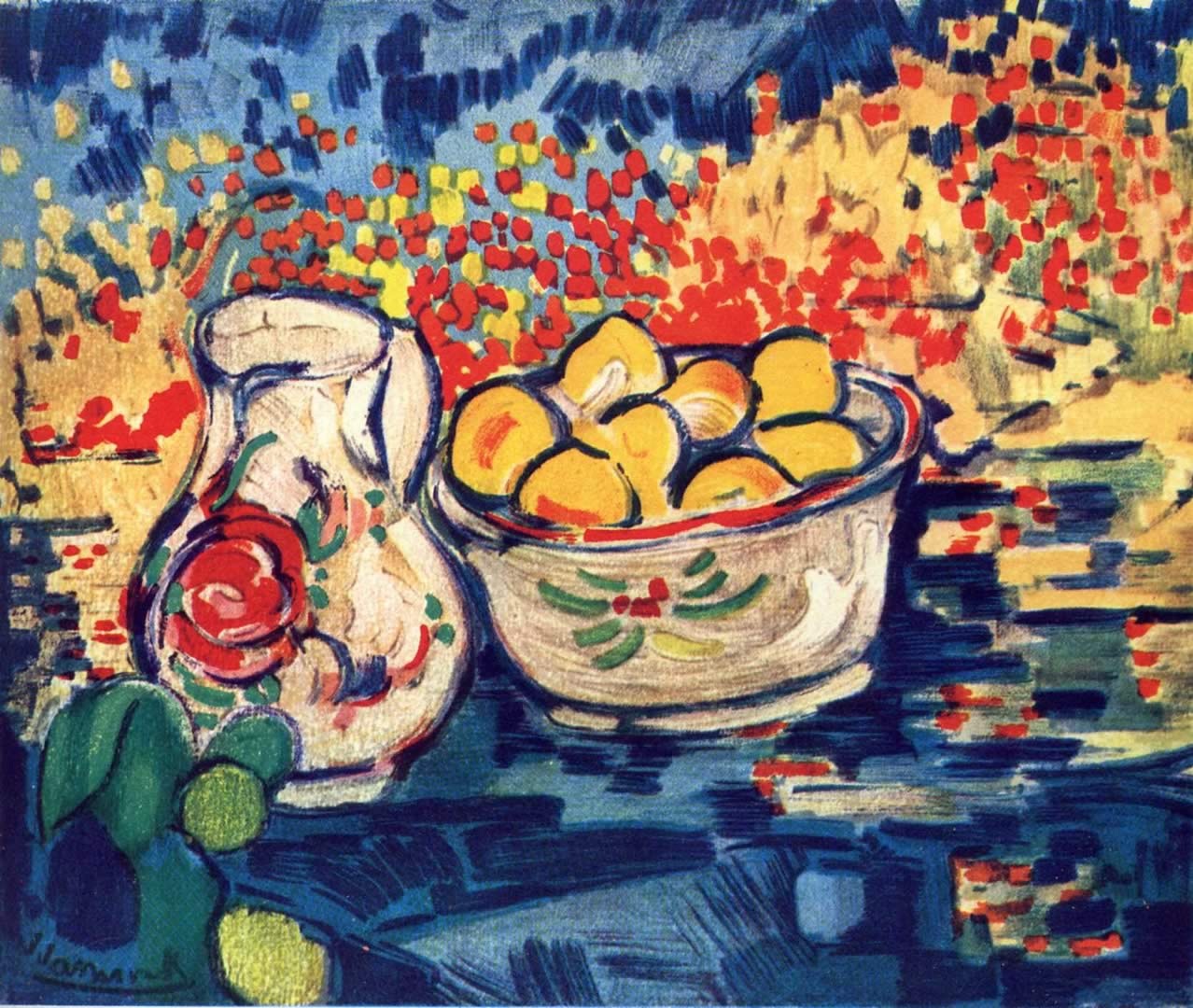still life with jug and lemons maurice de vlaminck