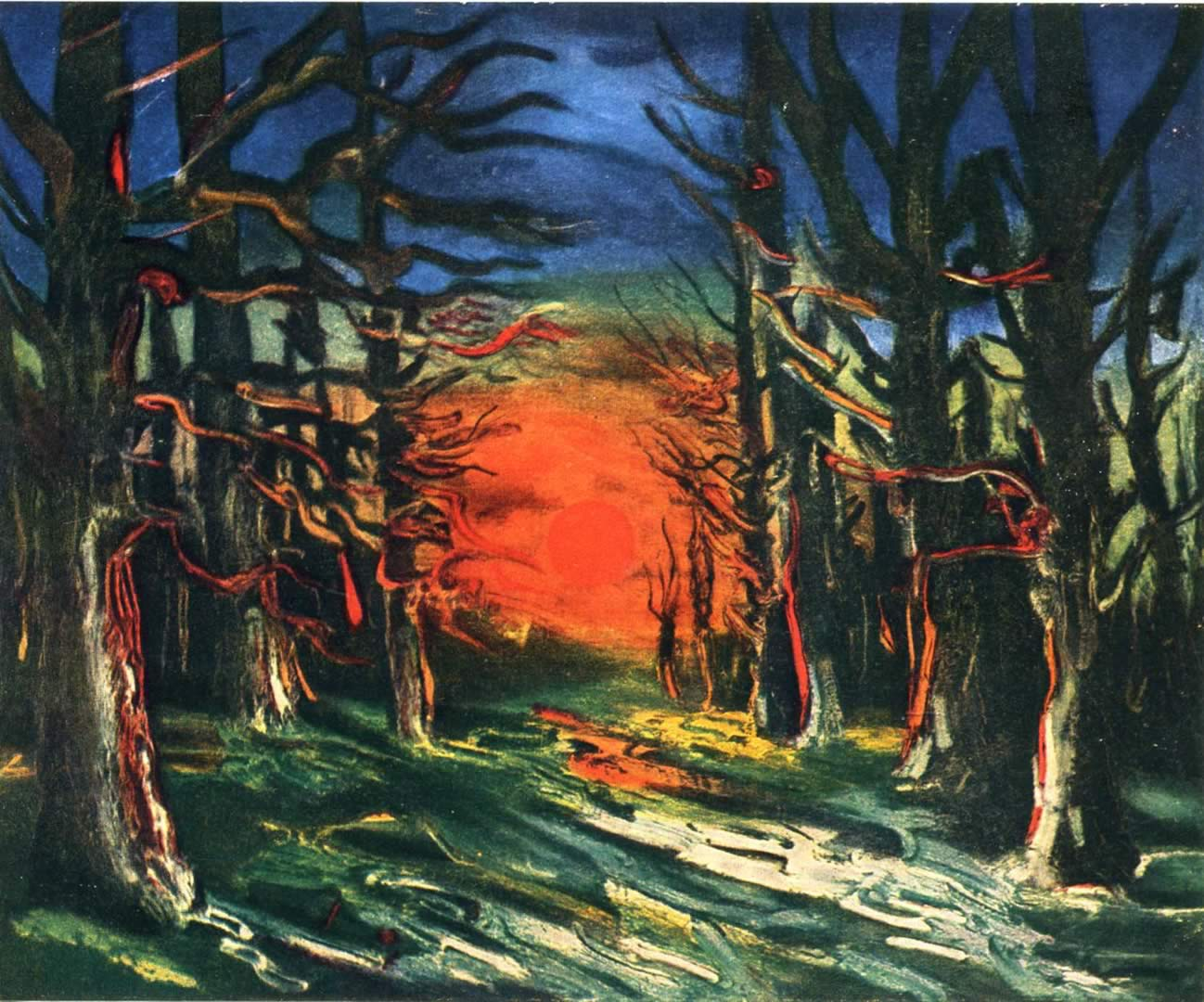 sunset at the forest of senonches maurice de vlaminck