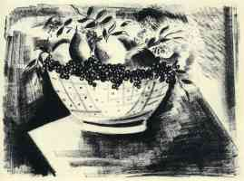 bowl of fruit lithograph