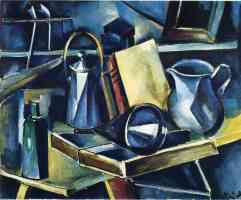 still life with books bottles and jugs