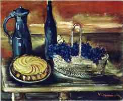still life with cake grapes and jugs