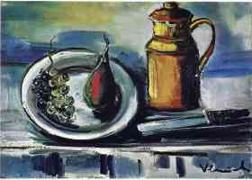 still life with jug and bowl of fruit