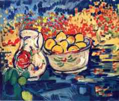still life with jug and lemons