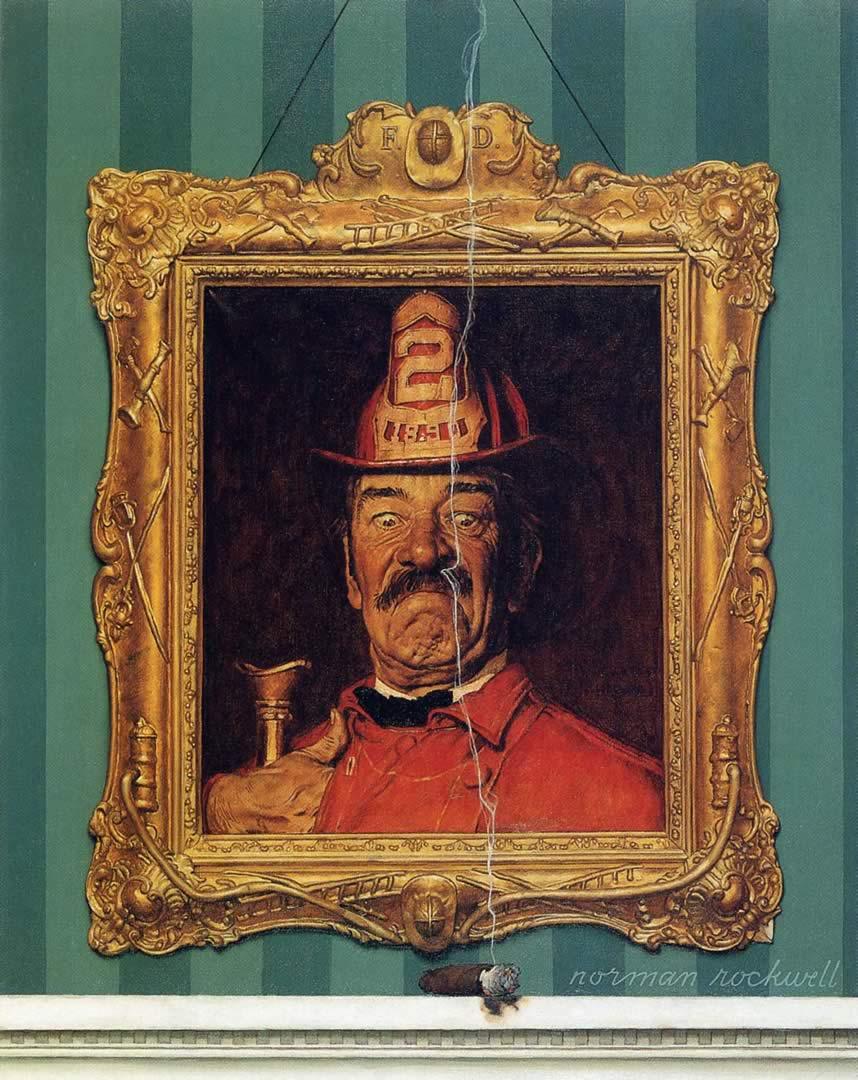 Fireman Portrait And Lit Cigar
