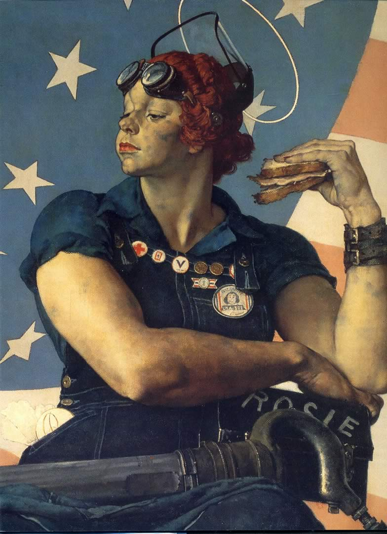 Rosie The Riveter Close Up Next Norman Rockwell Wallpaper