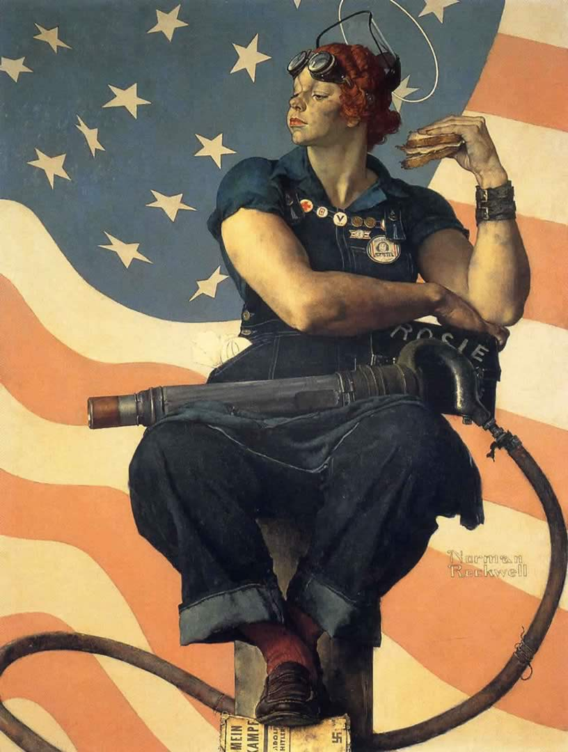 Rosie The Riveter Next Norman Rockwell Wallpaper