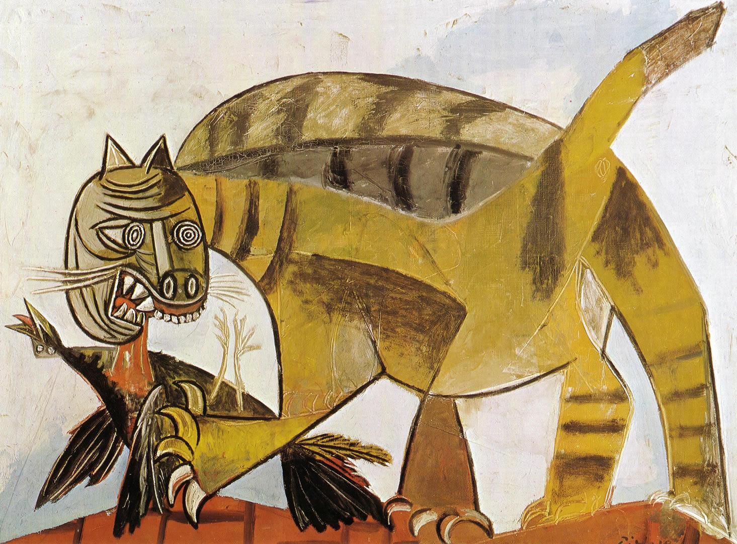 Cat Devouring A Bird 1939