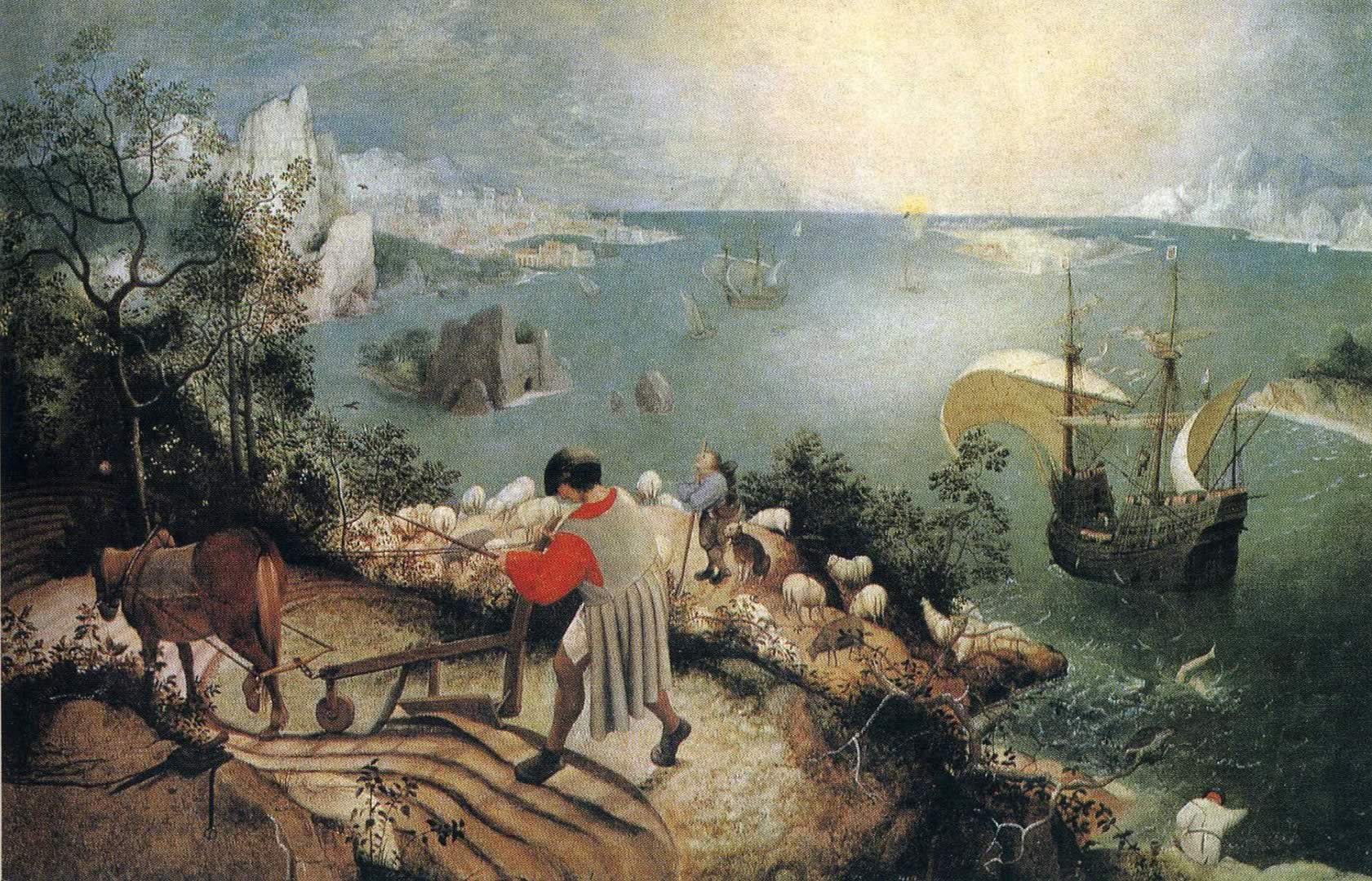 landscape and the fall of icarus It is uncertain that pieter bruegel the elder produced this piece, but we are sure, however, that it is his design another version of this work can be fou.