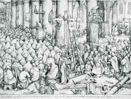 drawing of bishop and his flock in church