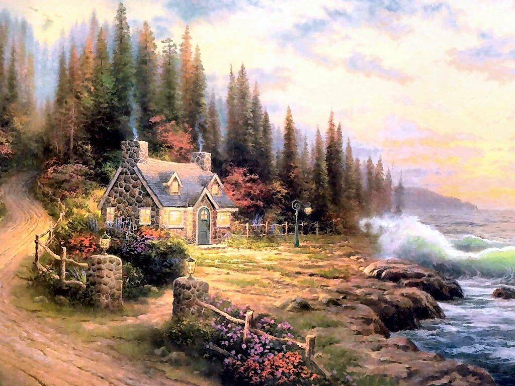 fantasy cottage wallpaper