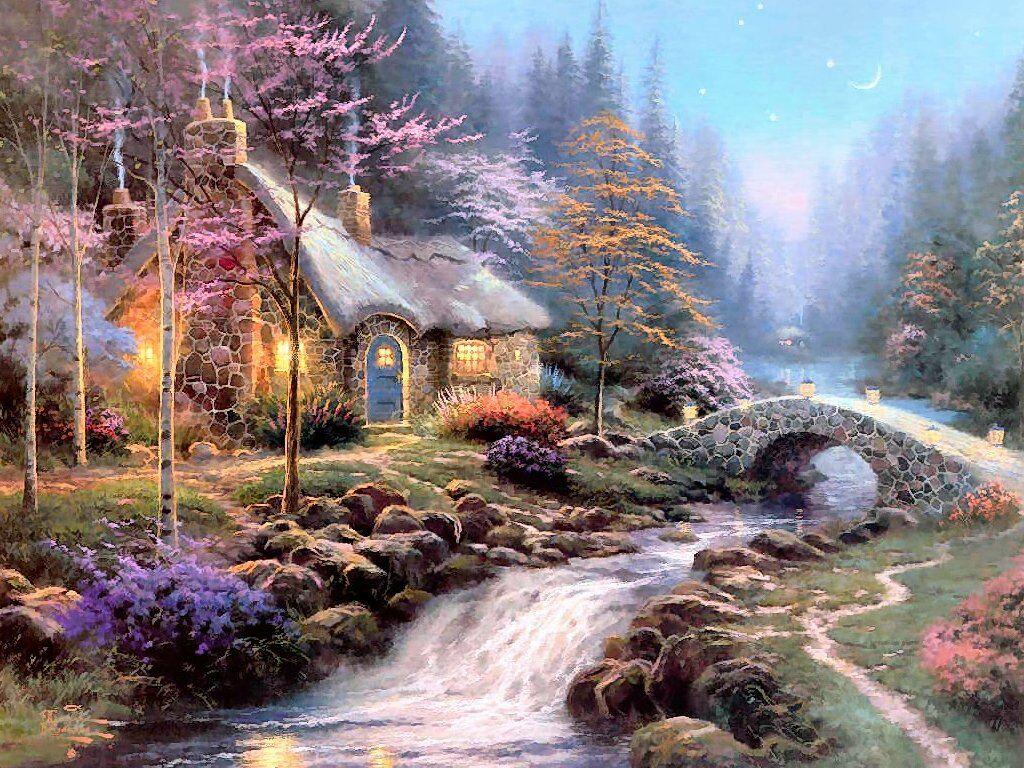fantasy cottage wallpaper