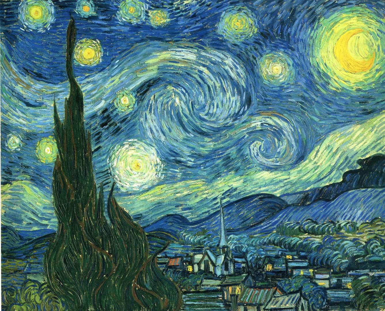 The Starry Night Wallpaper Image Featuring Vincent Van Gogh