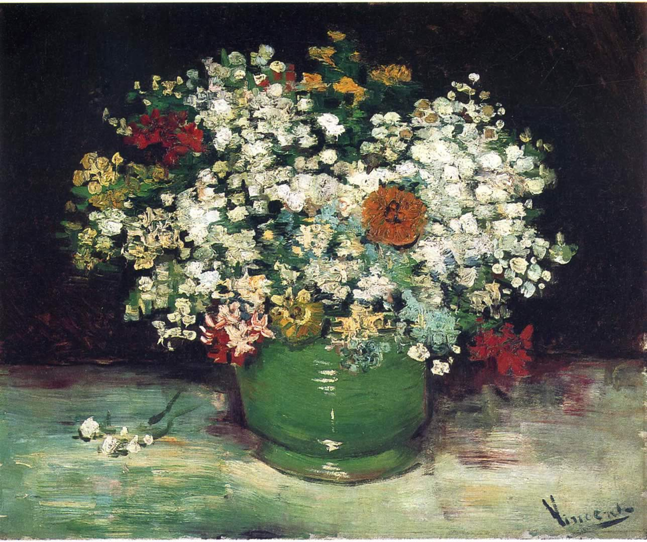 Vase With Zinnias And Other Flowers Vincent Van Gogh Wallpaper Image