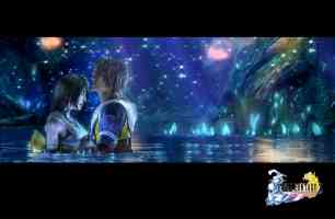 tidus and yuna in an underground crystal cave