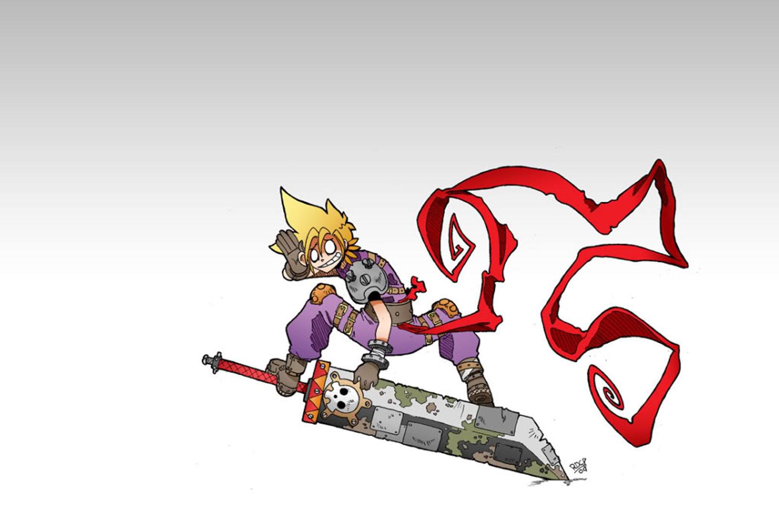 Cartoon Cloud Riding His Sword